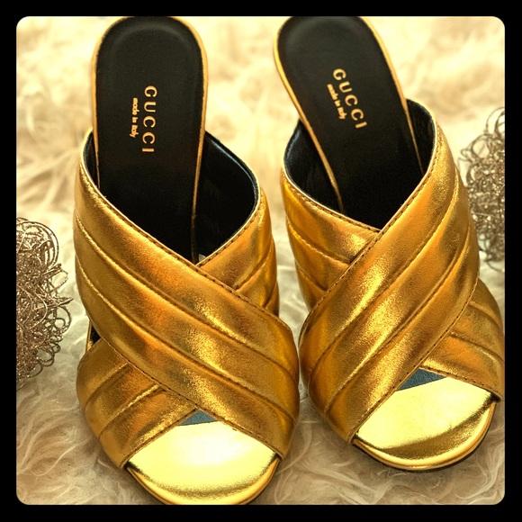 2e384581b1e5 Gucci Gold Metallic Sylvia Crossover Mule Sz 38